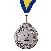 Медаль наградная с лентой d=60 мм Серебро 348-2