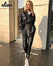Женский кожаный брючный костюм с рубашкой под пояс 38kos268, фото 2