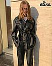 Женский кожаный брючный костюм с рубашкой под пояс 38kos268, фото 3