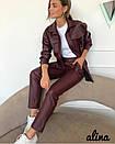 Женский кожаный брючный костюм с рубашкой под пояс 38kos268, фото 4
