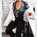 Женское принтованное боди на запах с длинным рукавом 48bod327, фото 2