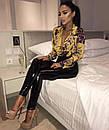 Женское принтованное боди на запах с длинным рукавом 48bod327, фото 4