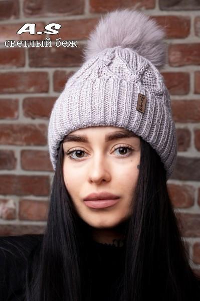 Женский набор шапка с подворотом и снуд из шерсти 52gol186