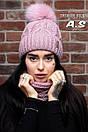 Женский набор шапка с подворотом и снуд из шерсти 52gol186, фото 2