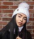 Женский набор шапка с подворотом и снуд из шерсти 52gol186, фото 3