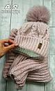Женский набор шапка с подворотом и снуд из шерсти 52gol186, фото 4