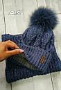 Женский набор шапка с подворотом и снуд из шерсти 52gol186, фото 9