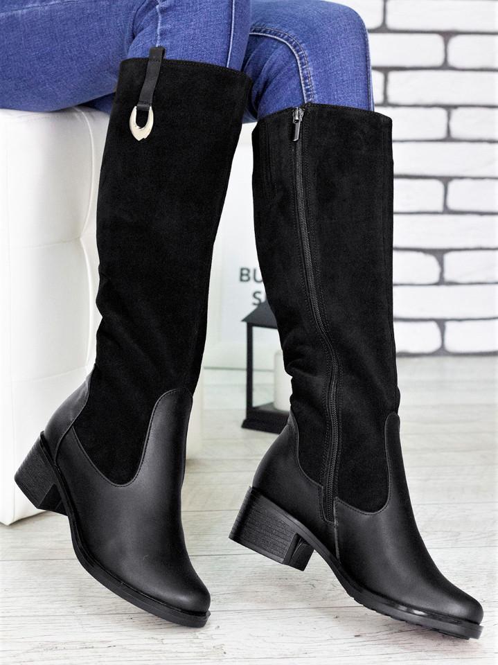 Женские высокие сапоги из замши с кожаными вставками 75OB79