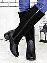 Женские высокие сапоги из замши с кожаными вставками 75OB79, фото 2