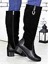 Женские высокие сапоги из замши с кожаными вставками 75OB79, фото 3