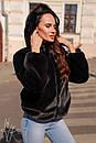 Женская короткая искусственная шуба с капюшоном и на молнии 60shu58, фото 2