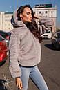 Женская короткая искусственная шуба с капюшоном и на молнии 60shu58, фото 4