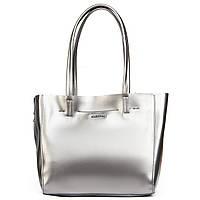 Женская сумка из натуральной кожи серебристого цвета классика