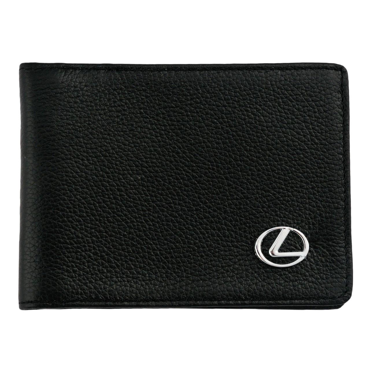 Кожаный бумажник двойного сложения с эмблемой LEXUS