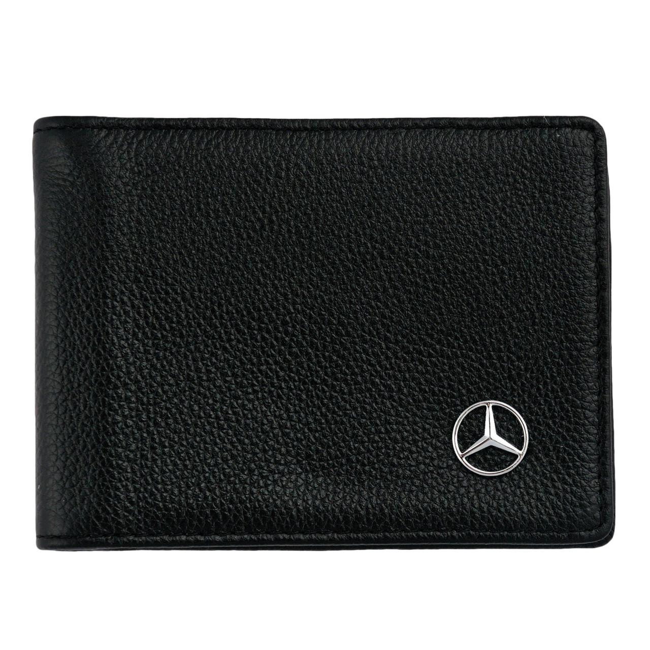 Шкіряний гаманець подвійного складання з емблемою MERCEDES