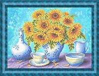 Схема для полной вышивки бисером - Кухонный натюрморт с посудой и подсолнухами в вазе, Арт. НБп2-8-1