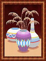 Схема для частичной вышивки бисером - Натюрморт из трех ваз, Арт. НБч2-2