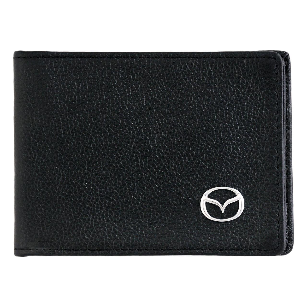 Кожаный бумажник двойного сложения с эмблемой MAZDA