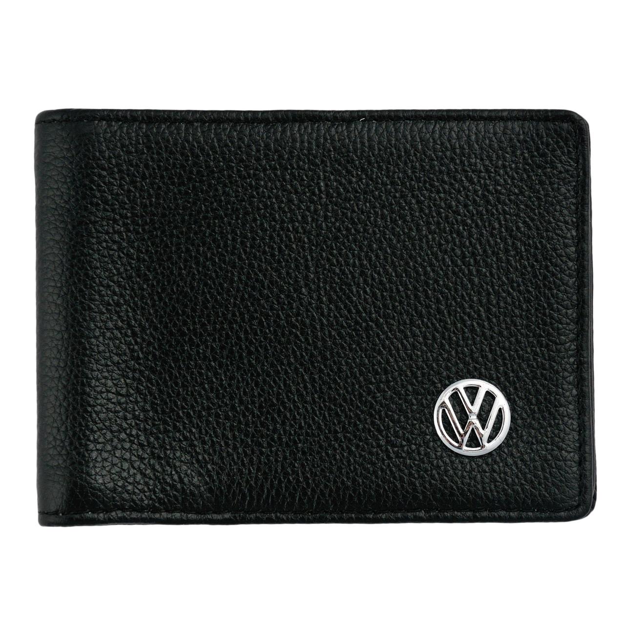 Кожаный бумажник двойного сложения с эмблемой VOLKSWAGEN