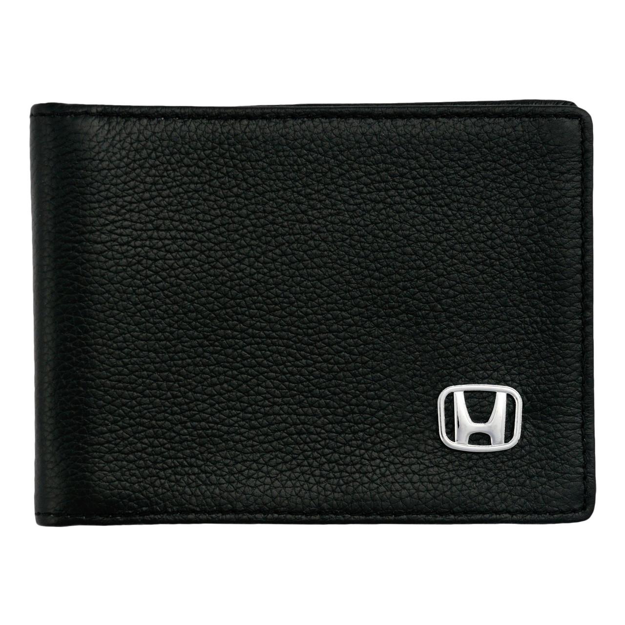 Кожаный бумажник двойного сложения с эмблемой HONDA