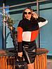 Трикотажная женская свободная кофта трехцветная 65dmde648