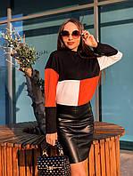 Трикотажная женская свободная кофта трехцветная 65dmde648, фото 1