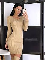 Теплое вязаное платье с кашемиром с U-вырезом и длинным рукавом 20mpl222, фото 1
