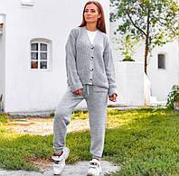Женский вязаный брючный костюм с кардиганом 40mko270, фото 1