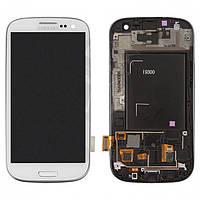Дисплейный модуль (дисплей + сенсор) для Samsung Galaxy S3 i9300, c рамкой, белый, оригинал