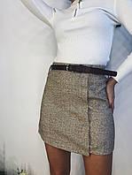 Твидовая женская юбка с клетку с карманами 77mju306, фото 1