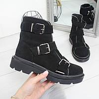 Женские замшевые ботинки демисезонные с ремешками 74OB60, фото 1