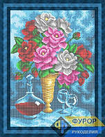 Схема для полной вышивки бисером - Натюрморт из букета роз, графина с вином и бокалов, Арт. НБп3-90