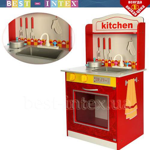 Деревянная детская кухня MD 1207 плита и посуда