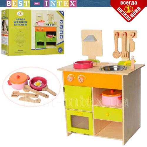 Детская деревянная кухня MSN13025 плита мойка посуда