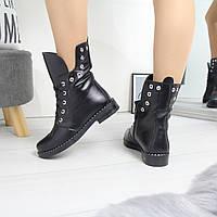 Женский зимние натуральные кожаные ботинки со шнуровкой 74OB62