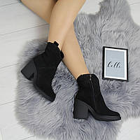 Женские замшевые зимние ботинки на небольшом квадратном каблуке 74OB64, фото 1
