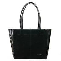 Женская сумка из натуральной кожи и замши черного цвета классика
