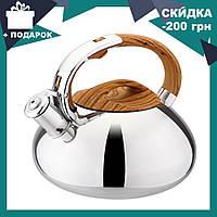 Чайник со свистком из нержавеющей стали Benson BN-703 (3 л), нейлоновая ручка, индукция | свистящий чайник, фото 1