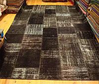 Ковер в черных оттенках на пол безворсовый винтажный , фото 1