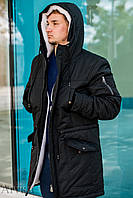 Зимняя мужская парка куртка (длинная на меху (овчина))  S(46)