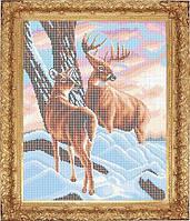 Набор для полной вышивки бисером - Олени в зимнем лесу, Арт. ЖБп3-34