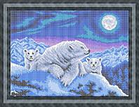 Набор для частичной вышивки бисером - Белые медведи, Арт. ЖБп3-69
