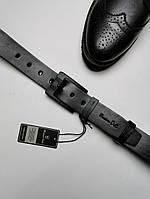 Ремень кожаный мужской с черной пряжкой Massimo Dutti (Массимо Дутти), реплика