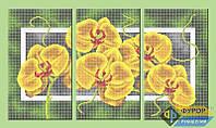 Набор для полной вышивки бисером - Триптих желтая орхидея, Арт. МКп-003