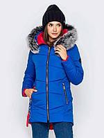 Женская теплая зимняя куртка удлиненная с мехом