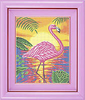 Набор для полной вышивки бисером - Розовый фламинго в лучах заката, Арт. ЖБп3-18