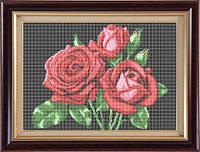 Набор для полной вышивки бисером - Алые розы, Арт. НБп3-6-3