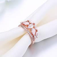 """Кольцо покрытое розовым золотом """"Грейс"""" (16.5 17.3 18.2 19.0 размеры в наличии)"""
