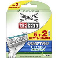 Сменные кассеты для бритья Wilkinson Sword Quattro Titanium Sensitive - 5+2  шт (1014)