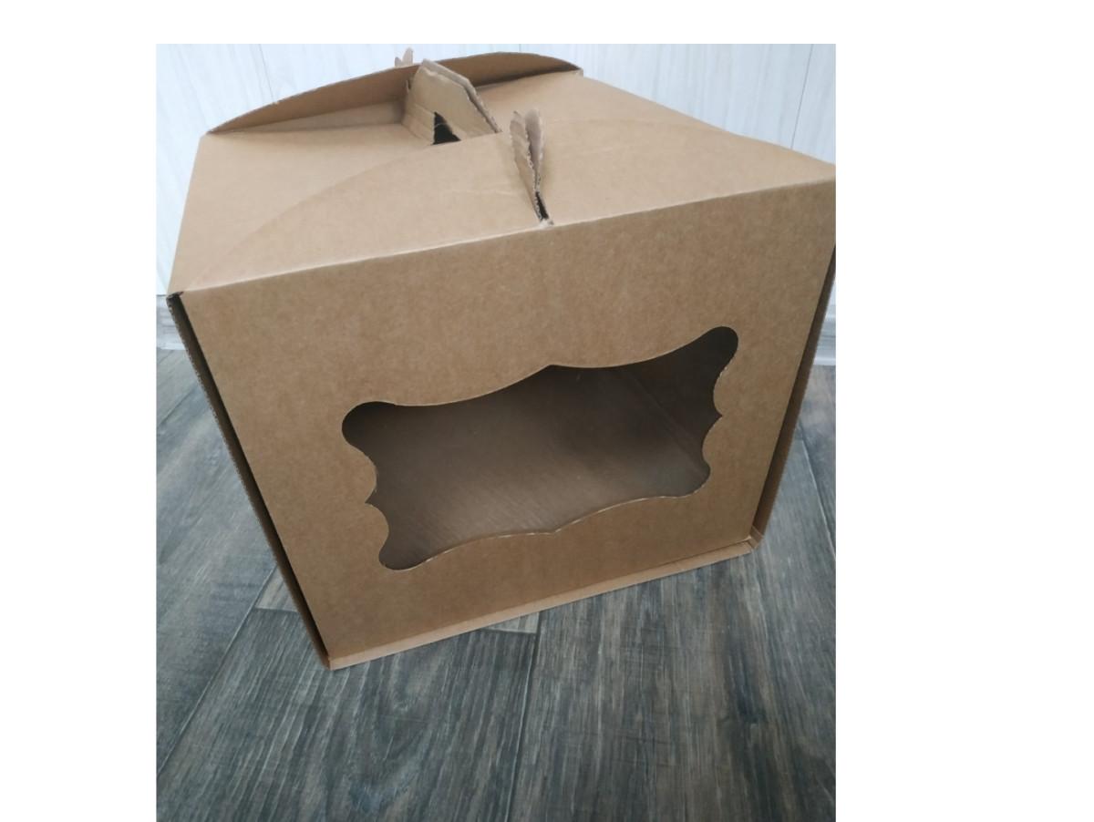 Картонная коробка для торта Крафт с окном 300*300*250 мм Упаковка 3 шт